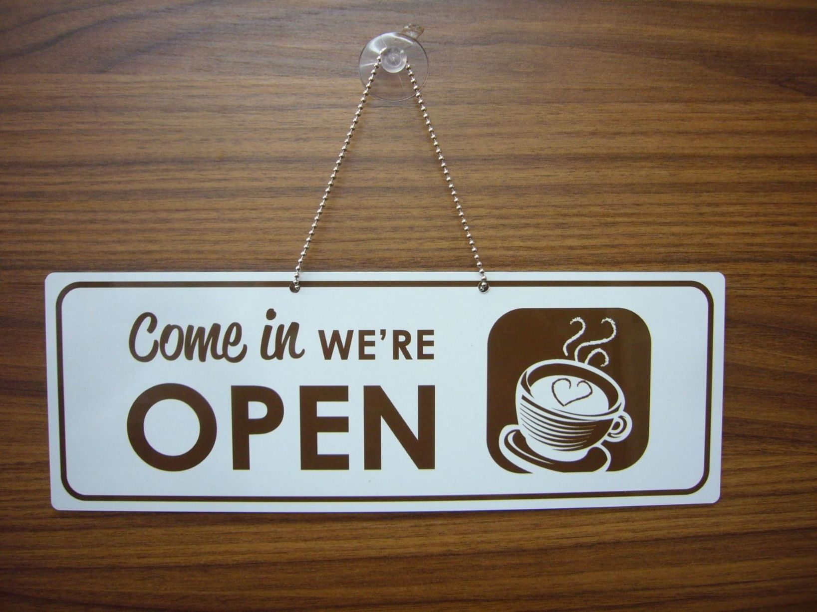 Coffee Shop Open Closed Sign With Picture
